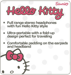Hello Kitty Plush Foldable Headphones
