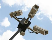 Security cameras a top a pole