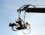 Film camera on a dolly