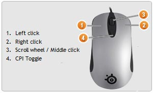 SteelSeries Kinzu Gaming Mouse, Silver