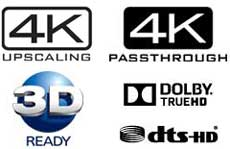 4K Passthrough and upscaling, 3D, Dolby, DTS High Def, high res