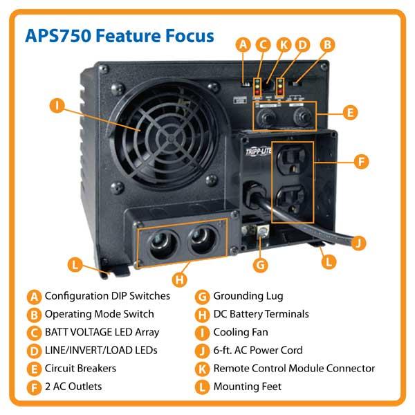 Amazon Com Tripp Lite Aps750 Inverter Charger 750w 12v