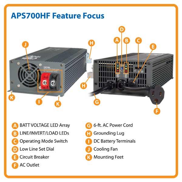 amazon com tripp lite aps700hf 700w 12v dc to ac inverter charger rh amazon com Tripp Lite UPS Tripp Lite Power Supply