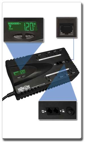 ECO650LCD Interactive LCD Interface and USB Port; Tel/DSL Surge Protection