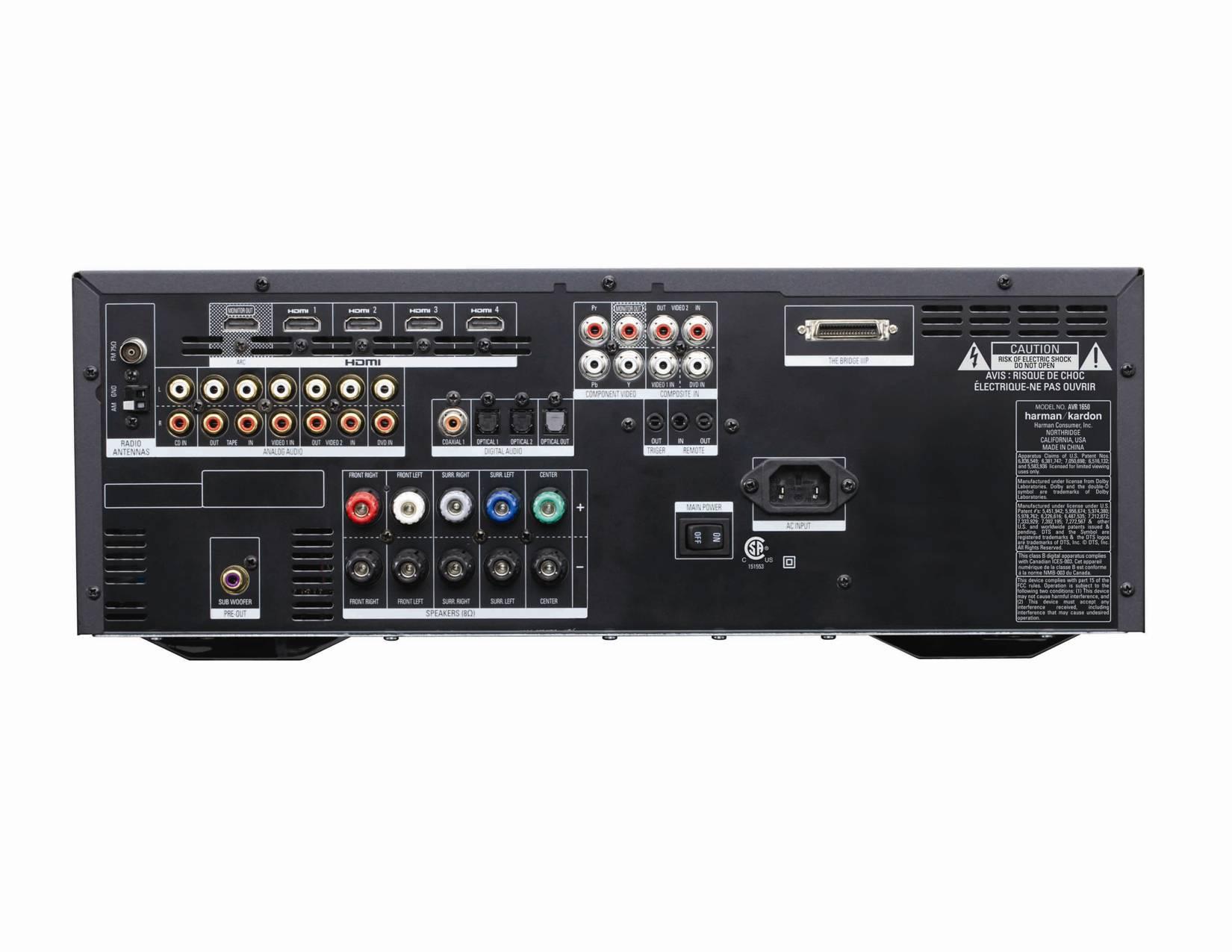 amazon com harman kardon avr 1650 5 1 channel 95 watt audio video rh amazon com