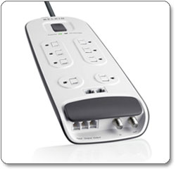 Eight-Outlet Surge Protector with 6-Foot Power Cord with Telephone, Ethernet, and Coaxial Protection