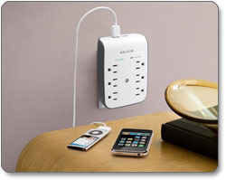 Six-Outlet Wall-Mount Surge Protector with Two USB Ports
