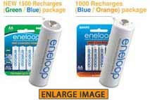 Genuine eneloop 1500 and 1000 packages