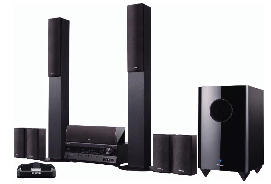 onkyo ht s7300 7 1 channel home theater receiver and speaker package with ipod dock. Black Bedroom Furniture Sets. Home Design Ideas