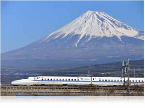 Nikon AF-S NIKKOR 80-400mm f/4.5-5.6G ED VR lens photo of a bullet train and mountain in the background