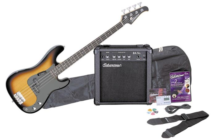 Amazon.com: Silvertone LB11 Bass Guitar and Amp Package, Sunburst ...