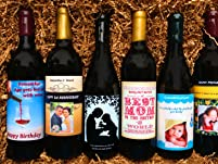 One Custom Wine Label on a Bottle of Wine