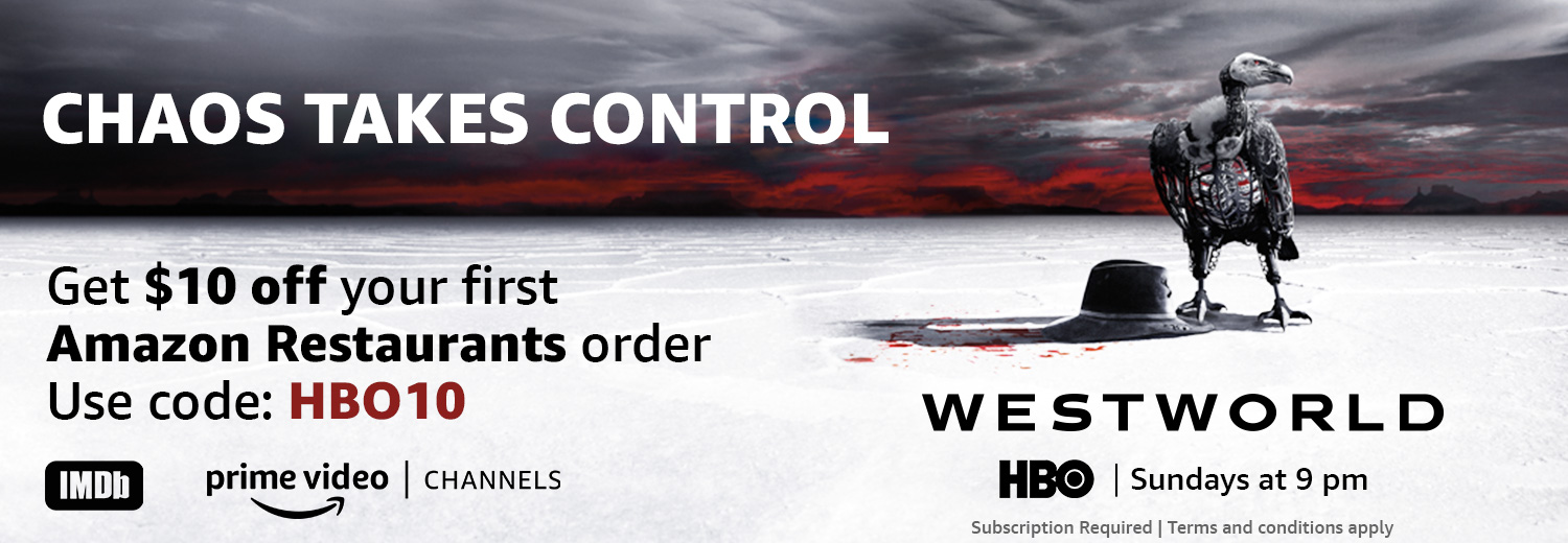 Chaos takes control. Order in and watch Westworld Sundays at 9 pm. Get $10 off your first Amazon Restaurants order. Use code: HBO10. Subscription required; Terms and conditions apply.