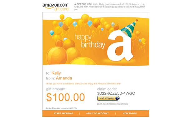 Amazon.com: Amazon Gift Card - Print - Happy Birthday (Cake): Gift ...