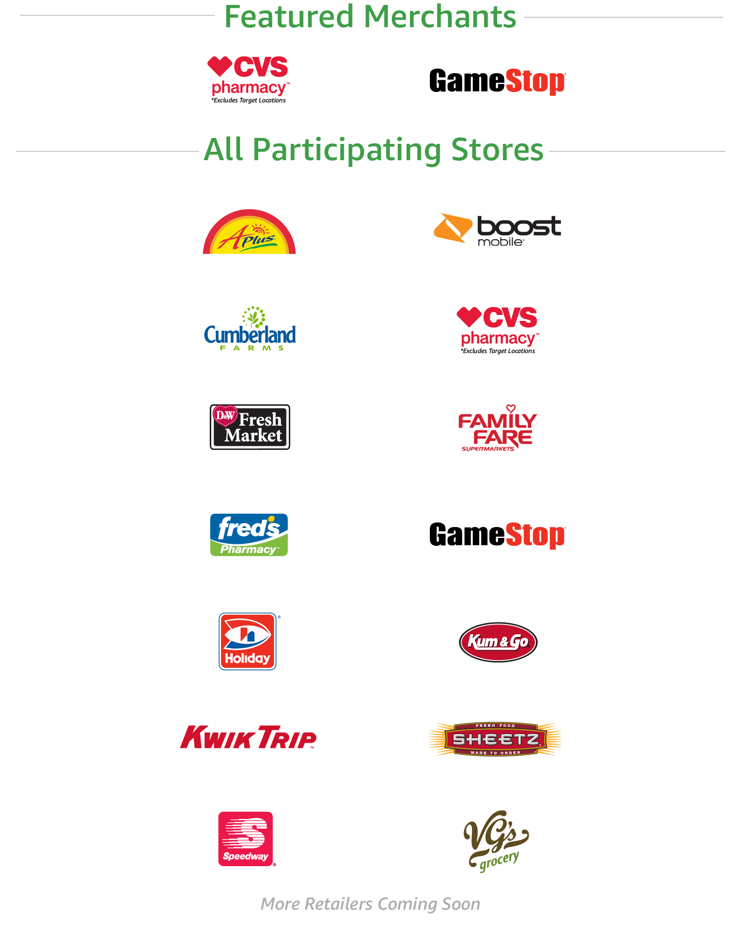Amazon Cash Participating Stores | APlusCVS pharmacy, GameStop, Cumberland Farms, D&W Fresh Market, Family Fare Supermarkets, Fred's Pharmacy, Holiday, Kum & Go, Kwik Trip, Sheetz, Speedway, VG's grocery | More retailers coming soon