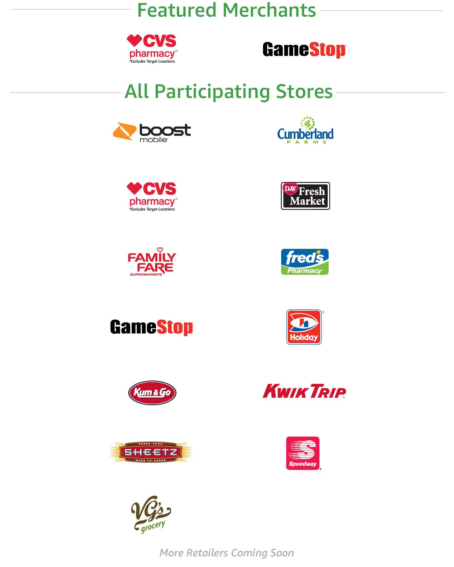 Amazon Cash Participating Stores | CVS pharmacy, GameStop, Cumberland Farms, D&W Fresh Market, Family Fare Supermarkets, Fred's Pharmacy, Holiday, Kum & Go, Kwik Trip, Sheetz, Speedway, VG's grocery | More retailers coming soon