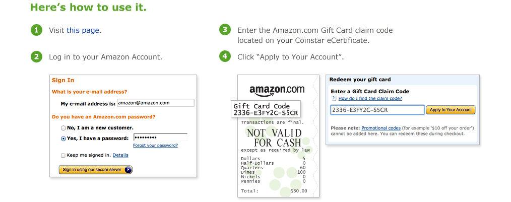 Amazon Coinstar Redeem Now