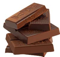 Stack of Scharffenberger chocolate