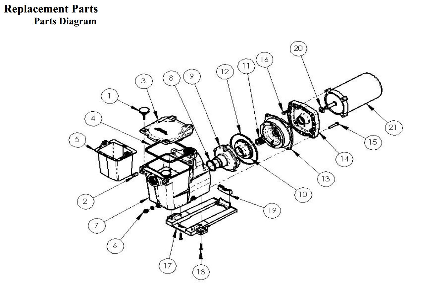 com hayward spx super pump hp max rated single replacement parts diagram
