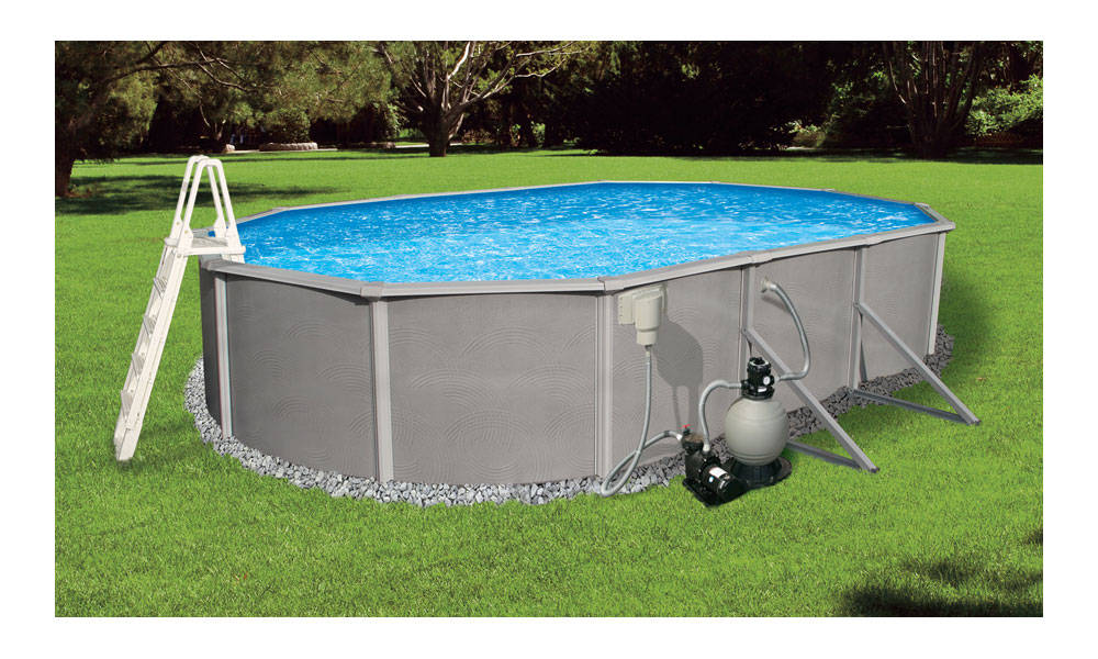 Blue Wave Belize 15-Feet by 30-Feet Oval 52-Inch Deep 6-Inch Top Rail Metal  Wall Swimming Pool Package