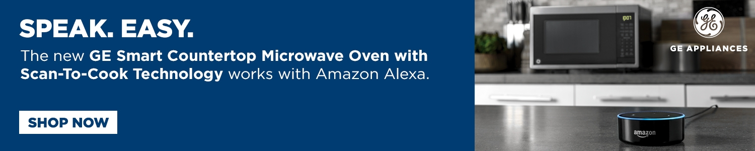 Speak. Easy. The new GE Smart Countertop Microwave Oven with Scan-To-Cook Technology works with Alexa.
