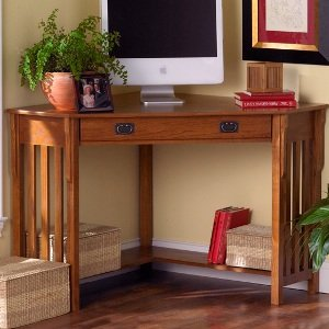 Bon Mission Oak Finished Corner Desk