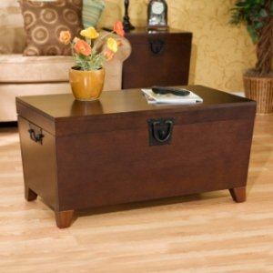 The Storage Trunk Coffee Table ships in one carton and requires assembly.