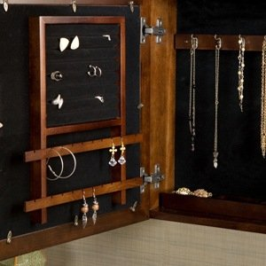 Amazon Com Espresso Square Wall Mount Jewelry Armoire