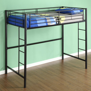 Walker Edison Sunset Metal Twin Loft Bunk Bed Black Amazon Ca