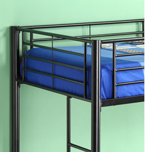 walker edison metal twin loftbunk bed black