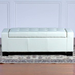 BEST Guernsey Leather Storage Ottoman White & Amazon.com: Best Selling Guernsey Leather Storage Ottoman Ivory ...