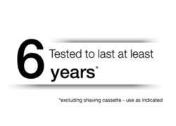 Tested to last at least 6 years* *excluding shaving cassette-use as directed.