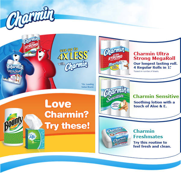 Love Charmin? Try Puffs Facial Tissues and Bounty Paper Towels / Also Try Charmin Ultra Soft MegaRoll / Also Try Charmin Ultra Soft MegaRoll, Charmin Sensitive and Charmin Freshmates