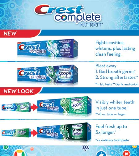 Crest Complete Multi-Benefit - Fights cavities, whitens, plus lasting clean feeling.
