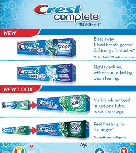 Crest Complete Whitening + Scope Dual Blast Toothpaste
