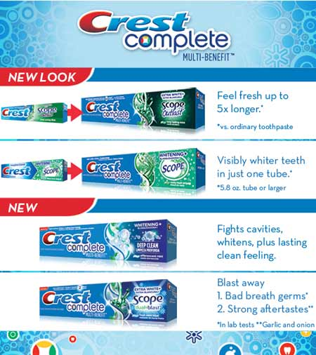 Crest Complete Multi-Benefit - Feel fresh up to 5x longer.* *vs. ordinary toothpaste - Visibly whiter teeth in just one tube.* *5.8 oz. tube or larger - Fights cavities, whitens plus lasting clean feeling. - Blast away 1. Bad breath germs* 2. Strong aftertastes** *In lab tests **Garlic and onion