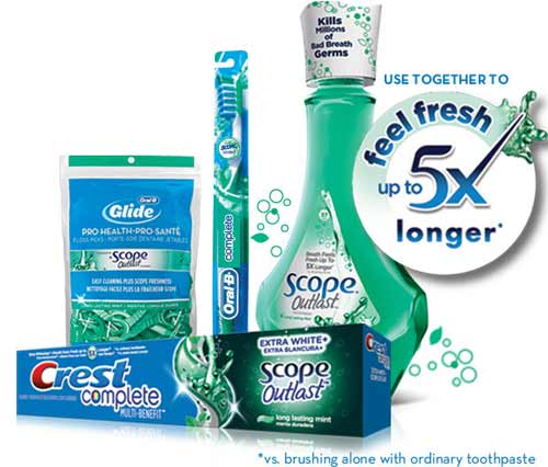 Feel Fresh up to 5x longer *vs. brushing alone with ordinary toothpaste
