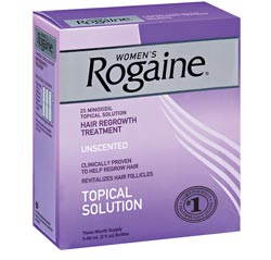 ROGAINE for Women Hair Regrowth Treatment, Regular Strength Unscented (Three-month Supply of Three 2-fluid-ounce Bottles) Product Shot