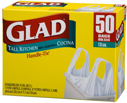 Glad Tall Kitchen Handle-Tie Garbage Bags, 13 Gallon, 50-Count (Pack of 4) Product Shot