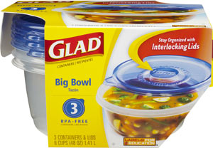 GladWare Big Bowl Reusable Plastic Containers, 3-Count Package of 48-Ounce Containers and Lids (Pack of 6) Product Shot