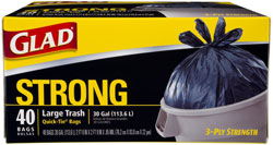 Glad Strong Large Trash Quick-Tie Garbage Bags, 30 Gallon, 40-Count (Pack of 4) Product Shot