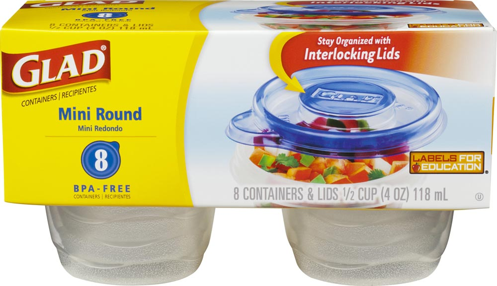 Amazoncom Glad Food Storage Containers Mini Round Containers 4
