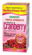 Nature's Bounty Triple Strength Natural Cranberry with Vitamin C (60 Softgels)