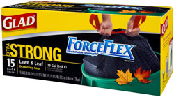 Glad ForceFlex Extra Strong Lawn & Leaf Drawstring Garbage Bags, 39 Gallon, 15-Count (Pack of 6) Product Shot