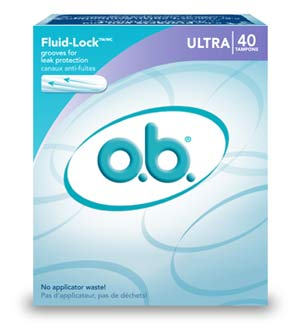 o.b. Ultra Absorbency Tampons, 40-Count Boxes (Pack of Three) Product Shot