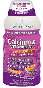 Wellesse Calcium & Vitamin D3 + Magnesium Liquid, 1000 mg and 1000 IU, Improved Natural Citrus Flavor, Sugar Free