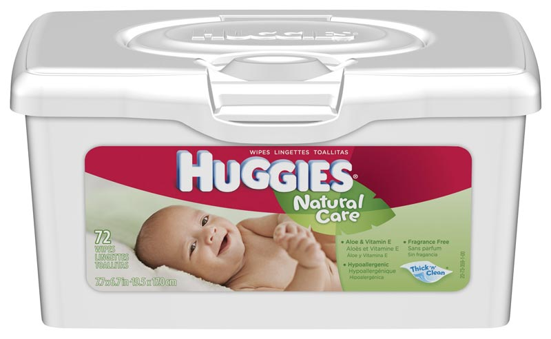 HUGGIES Natural Care Baby Wipes, Fragrance Free, 72-Count Tubs, (Pack