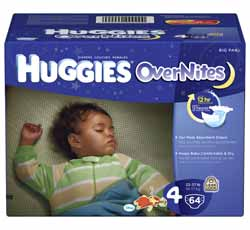 HUGGIES Overnites Diapers, Size 4, Big Pack, 64-Count Product Shot