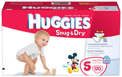 HUGGIES Snug & Dry Diapers, Size 5 Giant Pack, 120-Count Product Shot