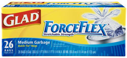 Glad ForceFlex Medium Garbage Quick-Tie Garbage Bags, 8 Gallon, 26-Count (Pack of 12) Product Shot